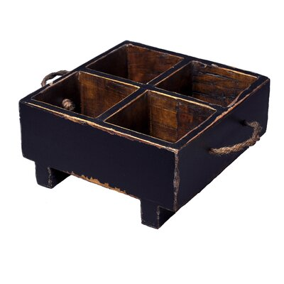 Antique Revival Distressed Square Milk Crate with Rope Handles