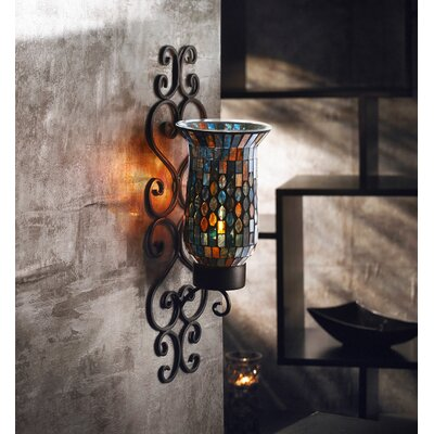 American Atelier Mosaic Glass and Metal Wall Sconce