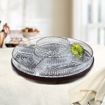 Fifth Avenue Crystal Estate Lazy Suzan 5 Section Serving Dish