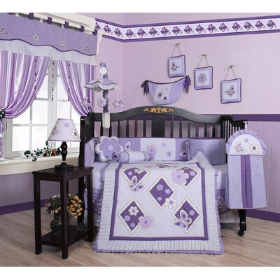 Boutique Butterfly 13 Piece Crib Bedding Set in Lavender