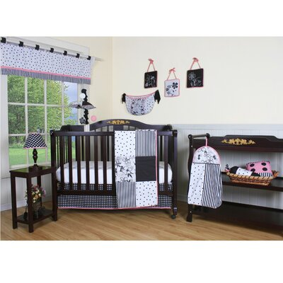 Geenny Boutique Flower and Dot 12 Piece Crib Bedding Set in Black / White