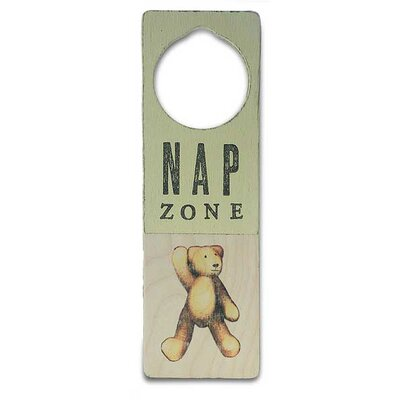 "Tree by Kerri Lee ""Nap Zone"" Wooden Doorknob Sign in Distressed Yellow"
