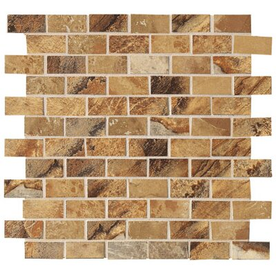 "Marazzi Jade 1"" x 2"" Decorative Brick Mosaic in Ochre"