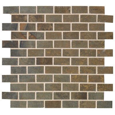 "Marazzi Jade 1"" x 2"" Decorative Brick Mosaic in Sage"