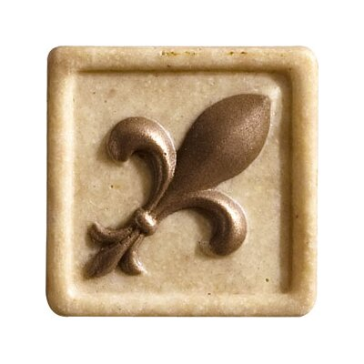 "Marazzi Romancing the Stone 2"" x 2"" Compressed Stone Fleur de Lis Insert with Bronze Inlay in Ivory"
