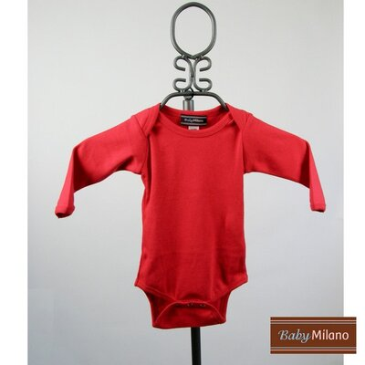 Long Sleeve Infant Bodysuit in Red