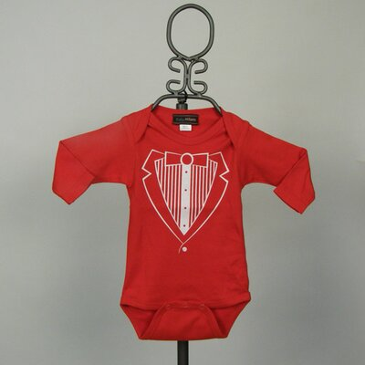 Long Sleeve Infant Bodysuit in Red Tuxedo