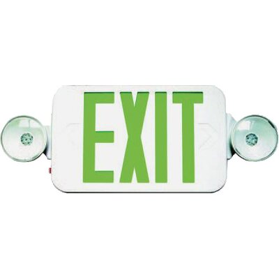 Morris Products Micro Combo LED and Exit / Emergency Light in Green LED and White Housing