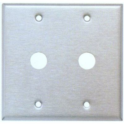 "Morris Products 0.41"" Two Gang Cable Metal Wall Plates in Stainless"