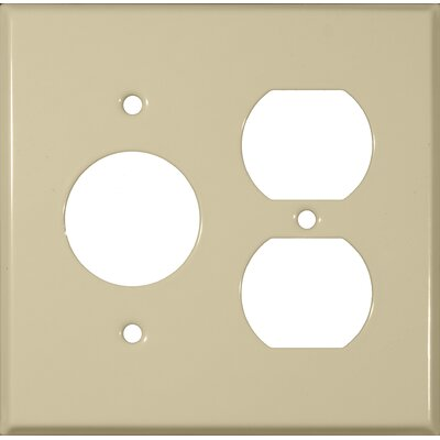 Morris Products 2 Gang 1 Duplex 1 Single Stainless Steel Metal Wall Plates in Ivory
