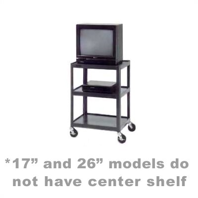 "Da-Lite Pixmate 18"" x 24"" Shelf Standard Television Cart [17"", 25.5"", 34"", 42"" Heights]"