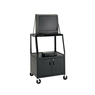 "Da-Lite Pixmate Advance Height Adjustable Multi-Shelf Cart with Cabinet [Up to 54"" Height]"