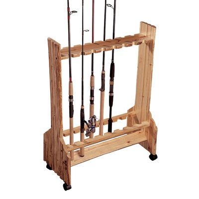 Rush Creek Double Sided Rolling 16 Fishing Rod Rack