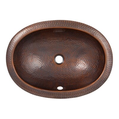 The Copper Factory Hand Hammered Copper Oval Self-Rimming Bathroom Sink