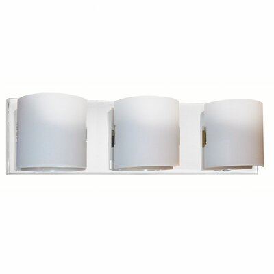 Dainolite Frosted Glass Three Light Contemporary Bath Vanity in Polished Chrome