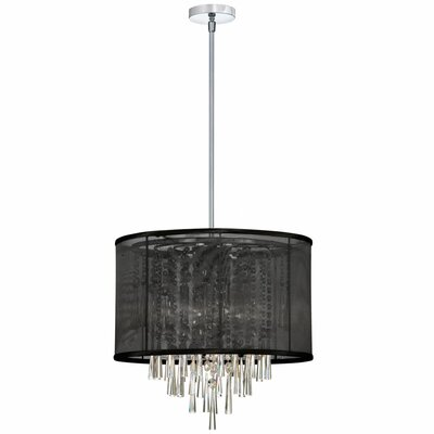 Dainolite 6 Light Crystal Convertible Drum Pendant