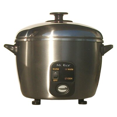 SPT 6 Cup Stainless Steel Rice Cooker and Steamer