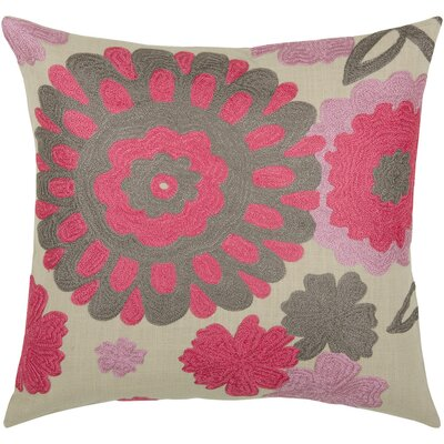 "Rizzy Home T-3483 18"" Decorative Pillow in Natural / Coral Pink"