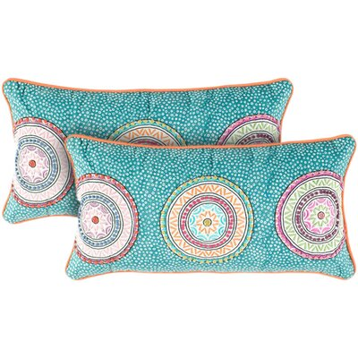 Rizzy Home Teal and Orange Decorative Pillow