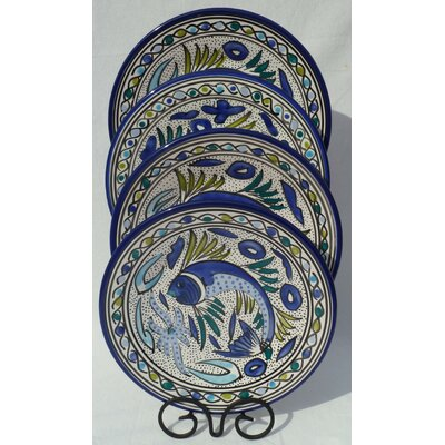 Le Souk Ceramique Aqua Fish Design Dinnerware Set