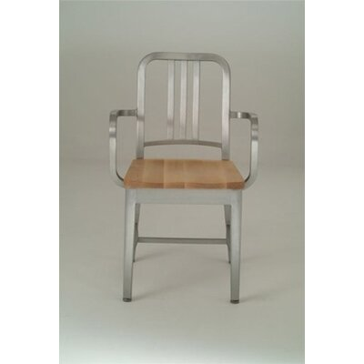 Emeco Natural Wood Seat Navy Dining Arm Chair