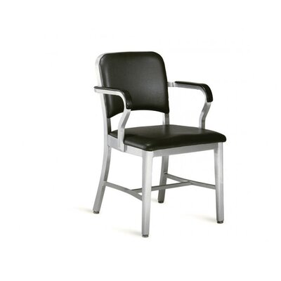 Emeco Navy Upholstered Mid-Back Office Chair with Arms