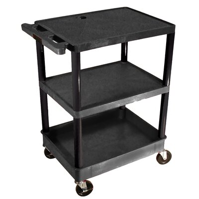 Luxor Top and Middle Flat Shelf and Bottom Tub Shelf Utility Cart