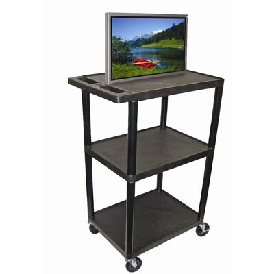"Luxor 54"" High Open Shelf AV Cart in Black"