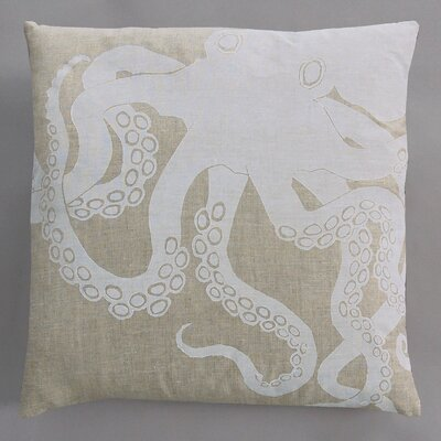 Dermond Peterson Octopus White Pillow on Natural Linen
