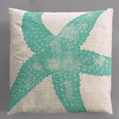 Dermond Peterson Starfish Turquoise Pillow on Natural Linen