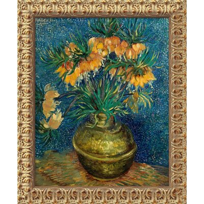 Crown Imperial Fritillaries in a Copper Vase by Vincent Van Gogh, Framed Canvas Art - ...