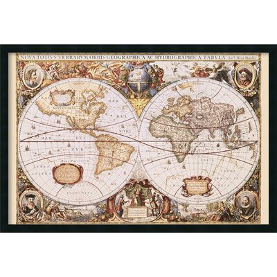 Amanti Art Map Of The World Framed Print by Henricus Hondius