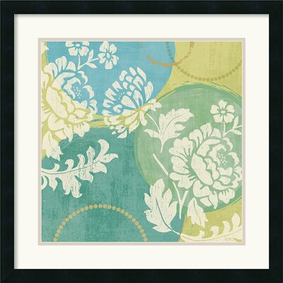 Floral Decal Turquoise II Framed Print by Veronique Charron