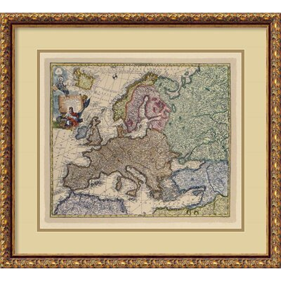 Amanti Art Map of Europe Italing Engraving Framed Print