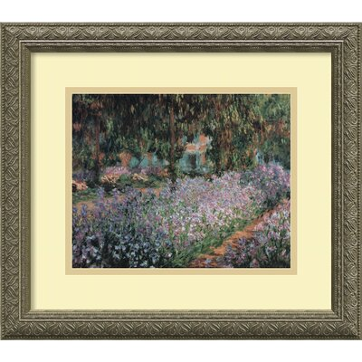 "Amanti Art The Artist's Garden at Giverny, 1900 by Claude Monet, Framed Print Art - 14.12"" x 16.12"""