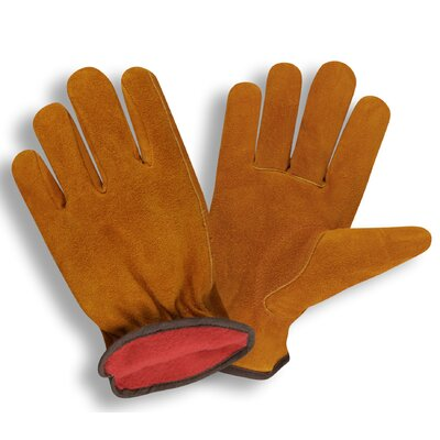Cordova Fleece Lined Split Cow Driver Glove in Red - Large