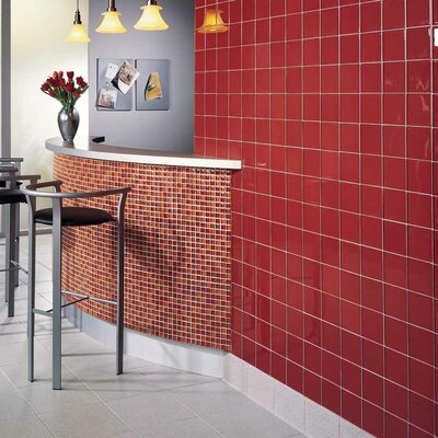 "American Olean Legacy Glass 12"" x 12"" Glazed Wall Mosaic in Red Blend"