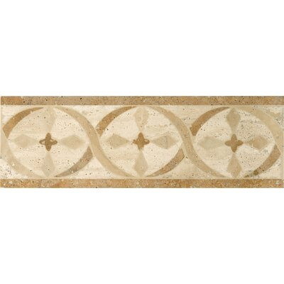 "Emser Tile Natural Stone 12"" x 4"" Menaggio Waterjet Travertine Listello"