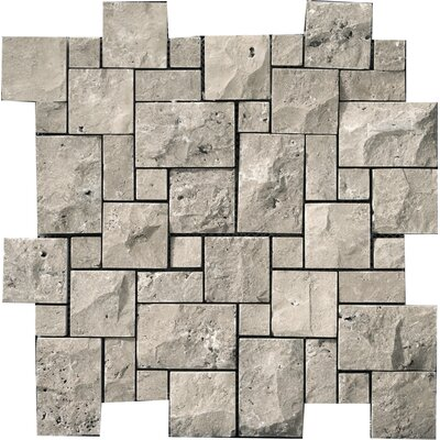 "Emser Tile Natural Stone 12"" x 12"" Travertine Mini Versailles Mosaic in Silver"