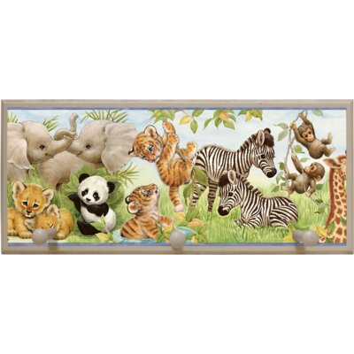 Illumalite Designs Jungle Pals Wall Plaque with Wooden Pegs