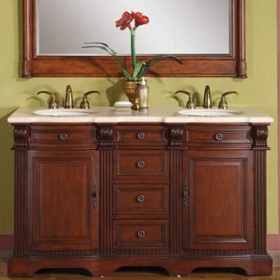 "Silkroad Exclusive Olivia 58"" Double Sink Bathroom Vanity Set"