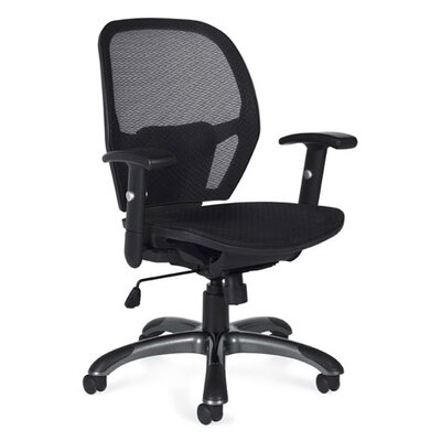 Offices To Go Mid-Back Mesh Tilter Executive Chair with Fixed Height Molded Arms