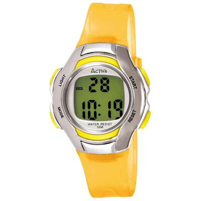 Activa Watches Women's Digital Multi-Function Watch with Yellow Transparent Strap