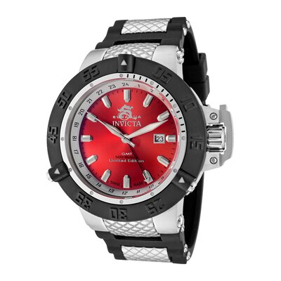 Invicta Men's Subaqua GMT Red Dial Black Polyurethane and Stainless Steel Watch