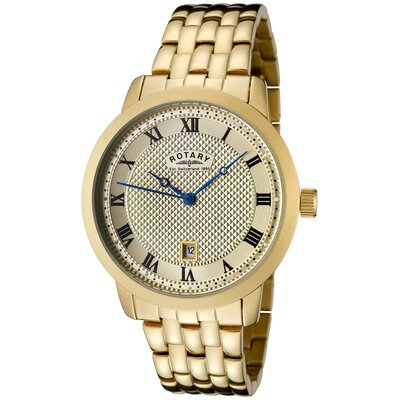 Rotary Watches Men's Gold Ion Plated Watch with Champagne Textured Dial