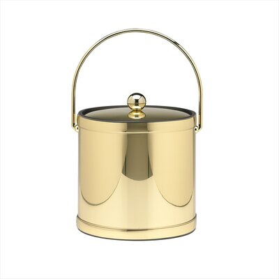 Kraftware Mylar 3 Qt Ice Bucket with Metal Cover in Polished Brass
