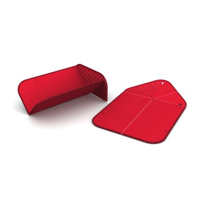 Joseph Joseph Rinse and Chopping Board in Red