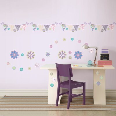 WallPops! Kids Patchwork Daisy Blox and Stripe Wall Decal Set