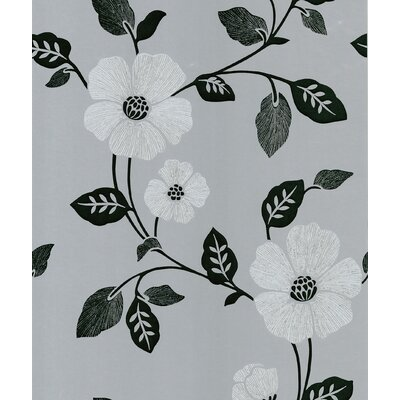 Ink Veined Floral Wallpaper in Black