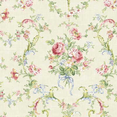 Willow Cottage Floral Bouquet Wallpaper in White